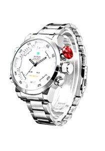 Sophisticated Men Stainless Steel LED Sports Watch Design F (White Body / White Details)