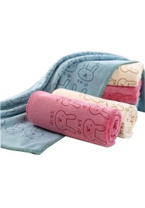 Set of 3 Microfibre Bath Towels (Blue + Pink + Beige )