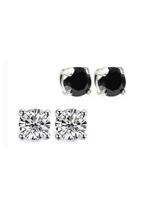 2 Sets of Magnetic Slimming Earrings (White + Black)