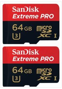 Sandisk 64GB Extreme Pro USH-I U3 MicroSDXC (SDSQXXG-064G-GN6MA-2U) 2 Units