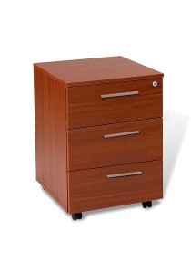 Arche Mobile Pedestal with 3 Stationery Drawer Assembled Cabinet for Office & Home (Cherry)