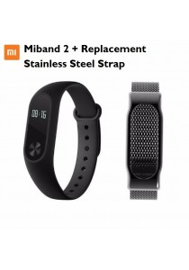 Xiaomi Miband 2 Heart Rate Touch OLED Bluetooth Smartband Wristband (Black) + Stainless Steel Strap Black