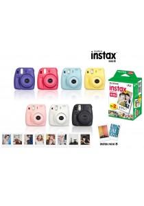 Fujifilm Instax Mini 8 (Black/Yellow/Blue/Pink/White/Grape/Raspberry) + Instax Mini Plain Film (20pcs)