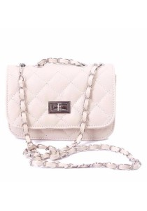 Ladies Fashion Quilted Sling Bag Chain Mini Handbag (Padlock Closure)