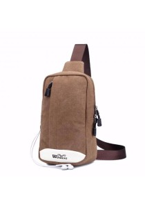 Korean Canvas Crossbody Bag Shoulder Sling Pouch with Earphone Hole (Canvas)