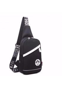 Korean Nylon Crossbody Bag Chest Shoulder Sling Pouch with Earphone Hole (Nylon)