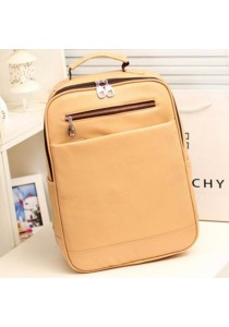 Unisex Classic Style PU Leather Vintage Laptop Backpack School Bag