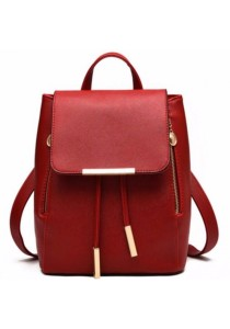 Korean Stylist Ladies Leather Backpack Casual Rucksack Bag (Drawstring Closure)