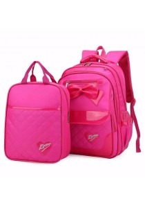 2-in-1 Girl Quilt Ribbon Design School Bag Backpack + Tuition Bag (3 Colors)