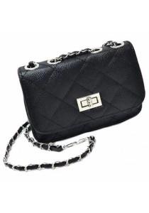 Ladies Women Fashion Mini Shoulder Bag Quilted Chain Sling Handbag (Black)