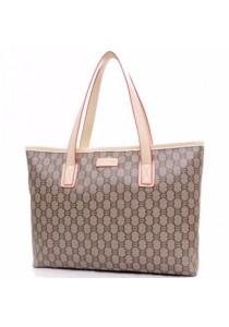 Ladies Leather Handbag Tote Bag #6: Beige Color Grid Design