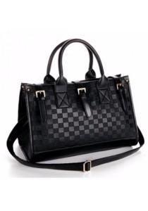 Ladies Leather Handbag Tote Bag #5: Black Grid Design