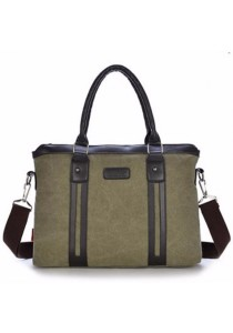 "Men Vintage Canvas Briefcase 14"" Laptop Bag Messenger Bag"