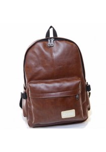 Classic Style PU Leather Vintage Laptop Backpack School Bag