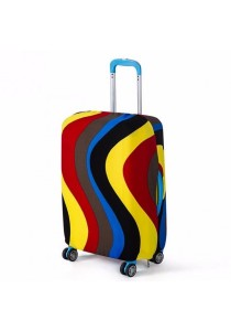 Stretchable Elastic Travel Luggage Suitcase Protective Cover (Rainbow Stripe Wave)