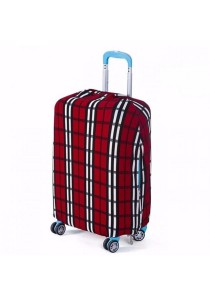 Stretchable Elastic Travel Luggage Suitcase Protective Dusk Cover (Red Plaid)