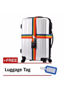Luggage Travel 4m Extra Long Rainbow Color Cross Strap Belt with Combination Lock + Free Luggage Tag
