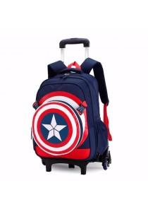 Kid School Captain America Design Backpack Detachable Sling Bag Trolley Bag (6 Wheels)