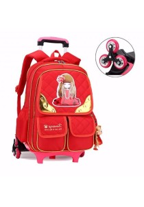Kid Princess School Bag Backpack with Detachable 6 Wheels Trolley