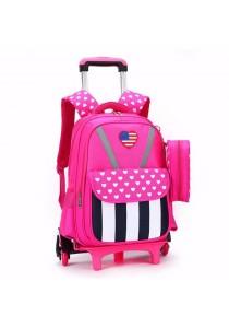 Kid School Bag Striped Star Design Backpack Trolley Bag Free Stationery Case (6 Wheels)