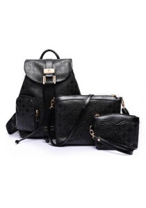 Momorain 3in1 Embossed Square Pattern Backpack (Black)