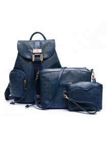 Momorain 3in1 Embossed Square Pattern Backpack (Blue)