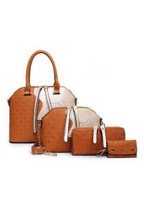 Momorain 4in1 Embossed Square Pattern Handbag (Brown)