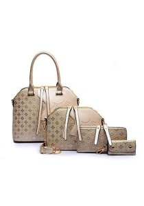 Momorain 4in1 Embossed Square Pattern Handbag (Gold)