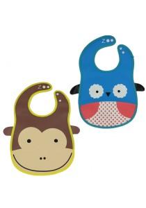 PVC Baby Bib (Wipe-clean Quality) - BB04 (Owl-Monkey)