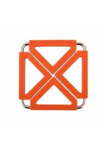 Stainless Steel Silicone Insulation Cup Mat Coaster (Orange)