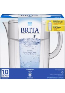 Brita 10 Cup Everyday BPA Free Water Pitcher with 1 Filter (White)