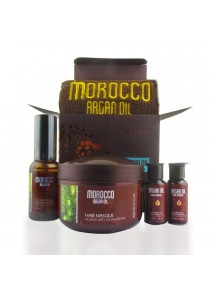 Morocco Argan Oil Gift Set  - Hair Care Masque Oil & Essential Oil & Cream And Moisturizer With Towel Gift Set Box
