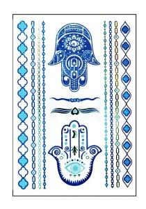 Blue Hamsa Metallic Temporary Tattoos