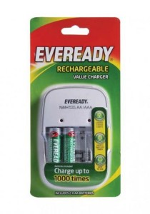 Eveready Smart Charger by Energizer with Indicator + 3-pin-plug + Free 2 Rechargeable Batteries 1400mAh