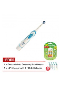 Braun Oral B Electronic Tooth Brush + NiMH GP Charger + 4 Batteries + 8 Replacement Brush Heads