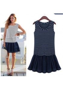 Nautical Striped Dress (Navy Blue)