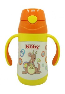 Nuby SS Click-it Push Button Twin Handle 280ml 10227 Kangaroo