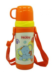 Nuby SS Click-It Thermos with Cup and Strap 360ml 4 Yrs 10226 Elephant