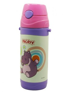 Nuby SS Click-It Flip-It Push Button with Strap 360ml 10225 Hippo