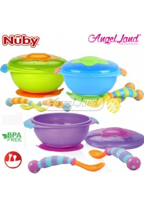 Nuby Wacky Ware Combo Set - PP Suction Bowl, Fork & Spoon (Blue) - NB5321