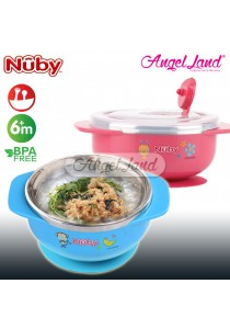 Nuby 8oz/250ml Stainless Steel Printed Bowl with Handle (Blue) - NB5572