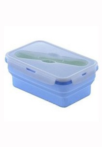 Oasis Collapsible Silicone Lunch Box 1000ml with Fork & Spoon Blue