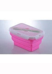 Oasis Collapsible Silicone Lunch Box 1000ml with Fork & Spoon Pink