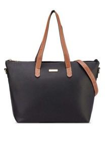 Unisa Duo-Tone Convertible Simple Tote Bag (Black)