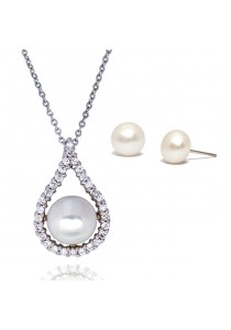 18K White Gold Plated Premium Abella Fresh Water Pearl Gift Set