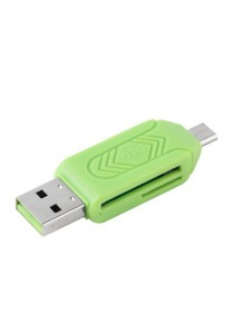 Micro USB 2-in-1 OTG Memory Card Reader (Green)