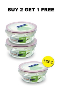 [Buy 2 Free 1] Glasslock Tempered Glass Square Container or Oven Safe Round Container