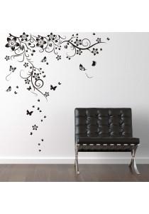 Walplus Black Butterflies Vine Wall Stickers (XL Series)