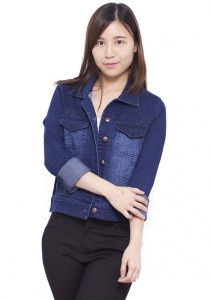 Long Sleeve Shirt Collar Denim Jacket - Blue