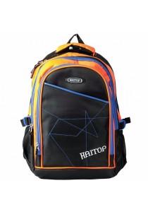 """Haitop HB1657 18"""" Sporty Backpack (Black/Orange)"""